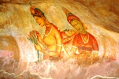 Mountain wall ancient paintings Sigiria