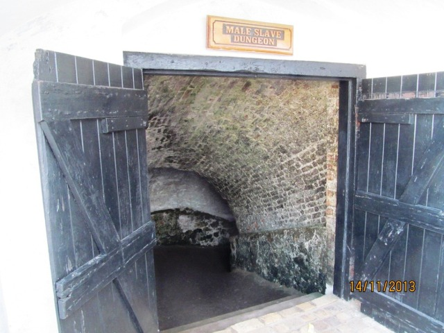 The entrance to the male slave dungeons, Fort Elmira, Ghana. Tens of thousand of people were caught, bought and sold as slaves from the