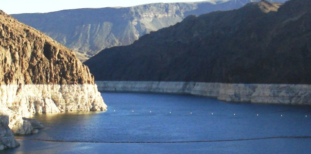 Lake Mead - the biggest water reservoir in the South West (USA). Changing rainfall patterns, climate variability, high levels of evaporation, reduced snow melt runoff, and current water use patterns are putting pressure on water management resources at Lake Mead as the population depending on it for water and the Hoover Dam for electricity continues to grow.  (Photo: Å. Bjørke)