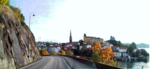 Arendal, picture taken from a bus entering the city.  (Photo. Author)