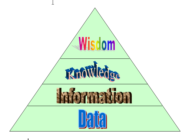The DIKW-pyramid: Data - Information - Knowledge - Wisdom: Data can be structured to information. Data and information can be disseminated. Knowledge and understanding must be built in each person or within a group