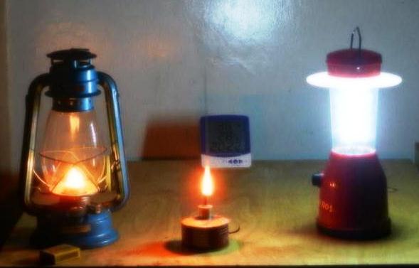 Everyday kerosene lamps alongside a solar-charged LED lantern  Photo: B. Cameron