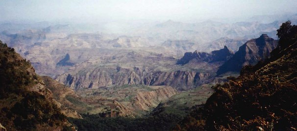 The gugged highlands of Ethiopia - catchment area for the Blue Nile. Courtesy of Professor Jonathan Baker, UiA.