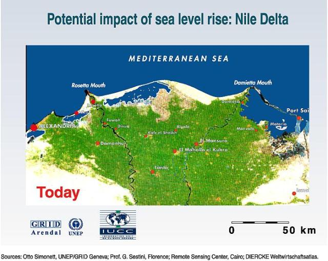 The Nile Delta is one of the oldest intensely cultivated areas on earth. It is very heavily populated, with population densities up to 1600 inhabitants per square kilometer. The low lying, fertile floodplains are surrounded by deserts. Only 2,5% of Egypt's land area, the Nile delta and the Nile valley, is suitable for intensive agriculture. Most of a 50 km wide land strip along the coast is less than 2 m above sea-level and is protected from flooding by a 1 to 10 km wide coastal sand belt only, shaped by discharge of the Rosetta and Damietta branches of the Nile. Erosion of the protective sand belt is a serious problem and has accelerated since the construction of the Aswan dam