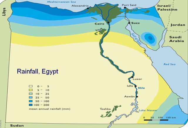 Rainfall in Egypt is scarce. Source: Central Agency for Public Mobilization and Statistics, 2002 – 2005: by courtesy of professor Mohamed Tawfic Ahmed, Suez Canal University